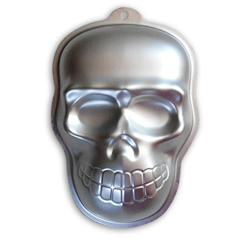 Halloween Decoration 3D Skull Shaped Cake Mold Cake Baking Pan Aluminum Cake Pan Tin Set Cake Cooking Tools