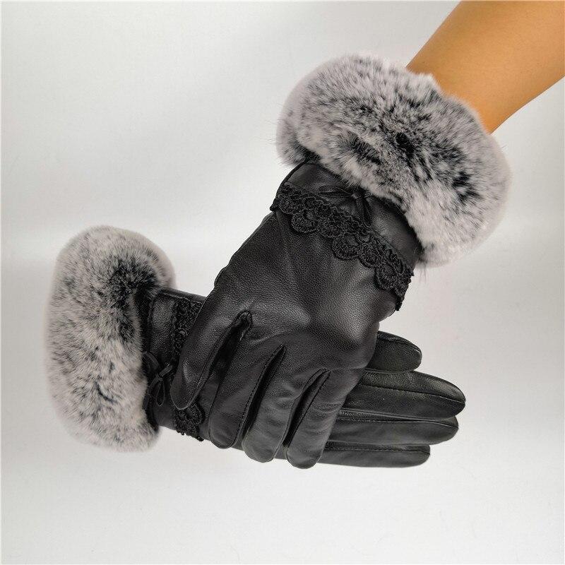 Leather Gloves Women Warm Autumn Winter Soft  Decoration Rex Rabbit Fur Wrist Coral Velvet Thick Real Fur Elegant Gloves