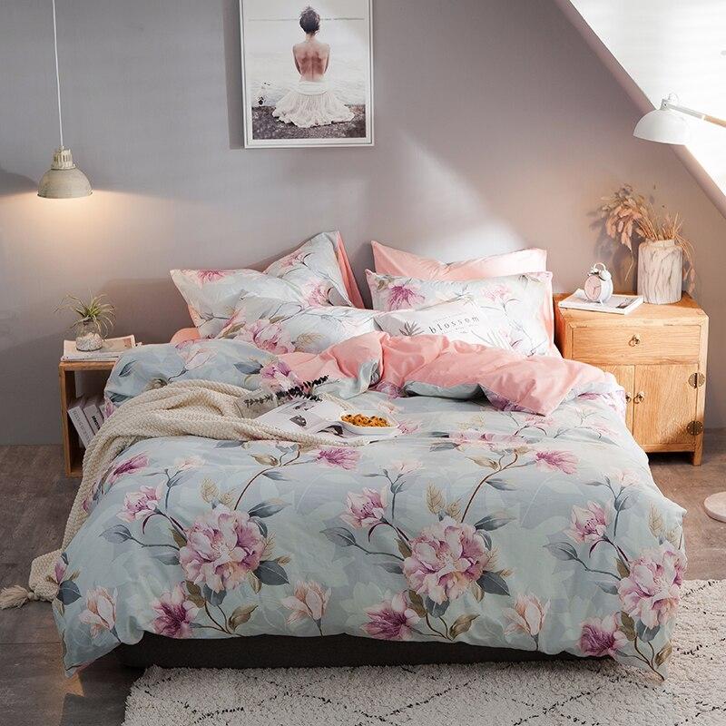 Синий хлопок/фланель постельное белье Twin queen King BeddingFor взрослых Розовая фланелевая простыня наволочка кашне постельного белья