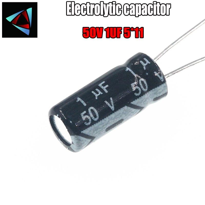 40PCS Higt Quality 50V 1UF 5*11mm 1UF 50V 5*11 Electrolytic Capacitor