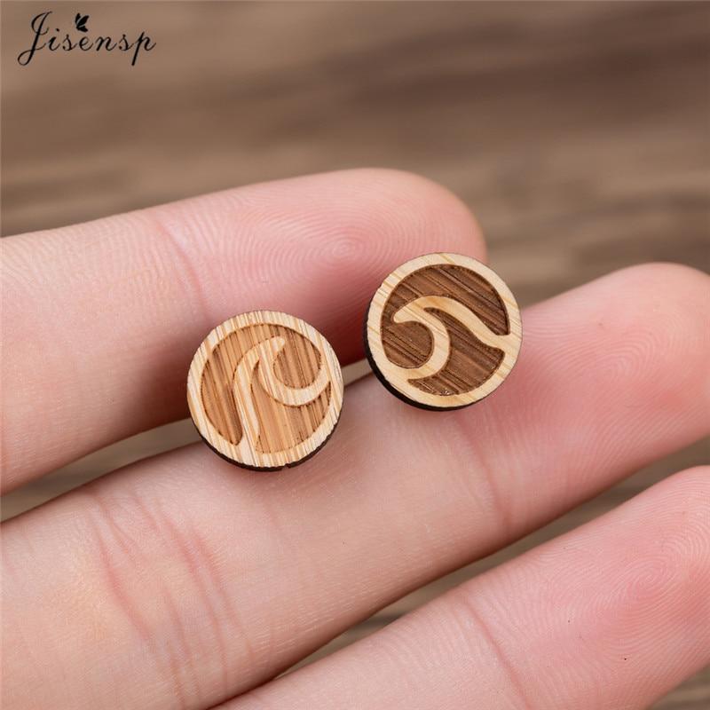 Jisensp Vintage Ocean Waves Stud Earrings Women Statement Jewelry Boho Simple Round Circle Earrings Birthday Gift Ohrringe