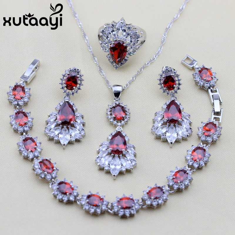 Objective Xutaayi 925 Sterling Silver Red Garnet Women Jewelry Set Rhodolite Austria Crystal Ring Size 6/7/8/9/10 Bracelet 18+3cm Refreshing And Enriching The Saliva Jewelry & Accessories