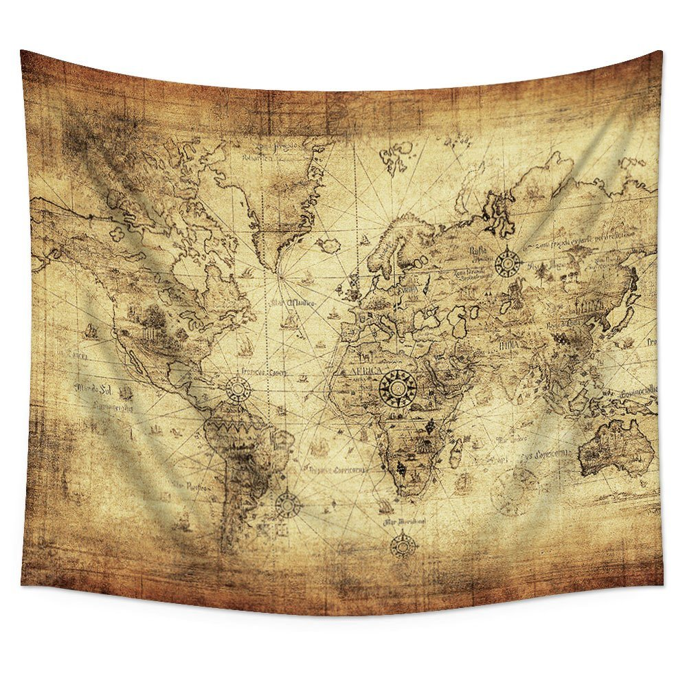 CHARMHOME Antique Map of the World Wall Tapestry Hanging Polyester ...