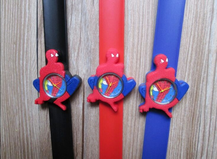 Cartoon spiderman slap watch Children Kids Girls Boys Students Quartz Wrist Watches.10pcs/lot perfect gift boys girls students time electronic digital wrist sport watch green levert dropship nov29