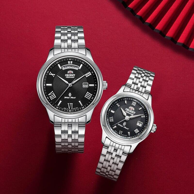ORIENT Мода белый пару часов, пара корейской версии тенденции стали пояса любителей смотреть мужчины водонепроницаемые часы