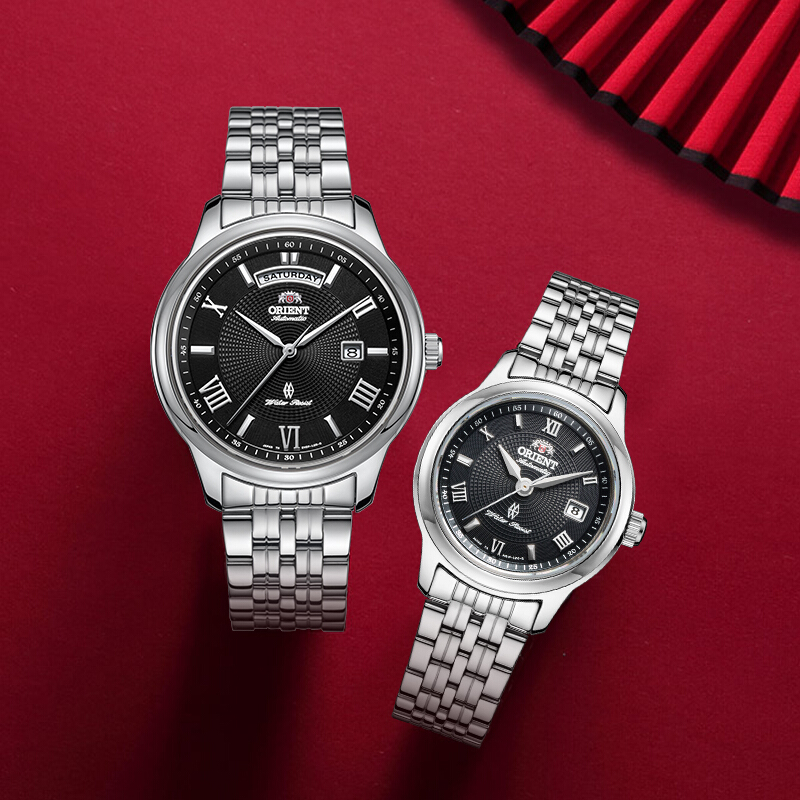 ORIENT Fashion White Couple Watches, A Pair Of Korean Version Of The Trend Of Steel Belt Lovers Watch Men Watch Waterproof Watch
