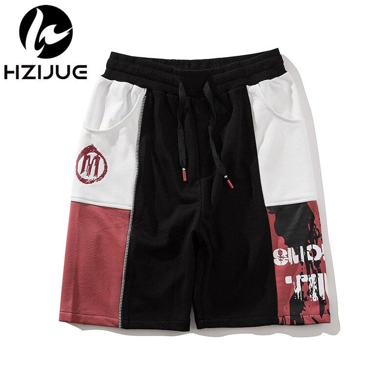 HZIJUE 2018 Men Short Joggers Summer Ribbons Beach Cargo Shorts Hip Hop Zipper Sweatpants Cotton Harem Shorts Fashion Streetwear
