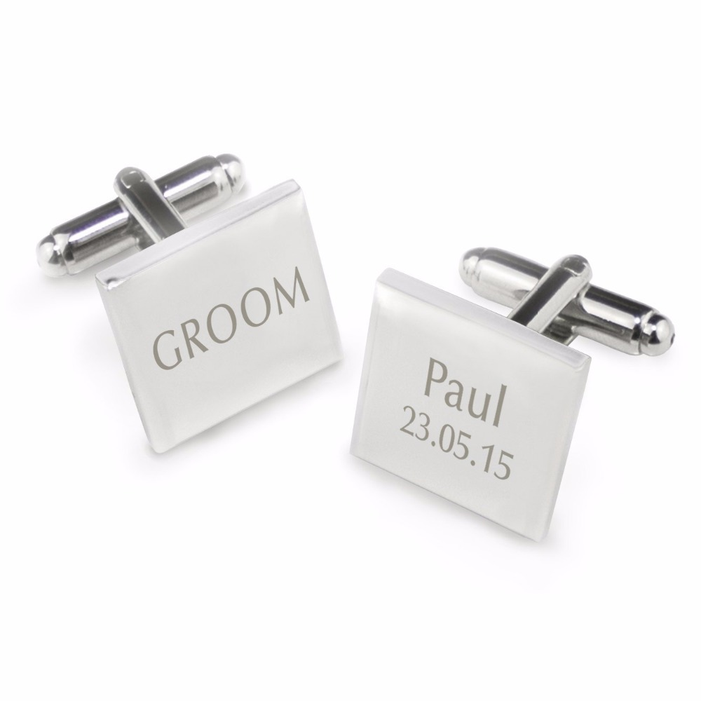 Customized Wedding Anniversary Cufflinks Laser Engraved Name Record Classic Personalized Cuff links for Men gift