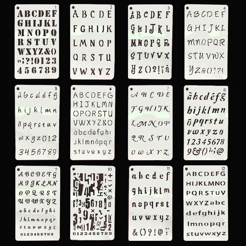 12pcs Handwriting Practice Notebook Craft Stamping Template Stencil Set Scrapbooking English Alphabet Handwriting Specification