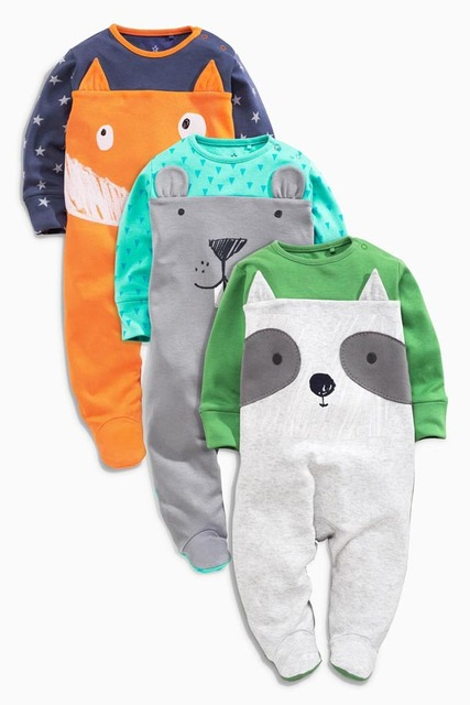 Baby Wrap Feet Jumpsuits Cotton Long Sleeve, Dress Climb Clothes Male Package Fart Three Pieces Boys Animal