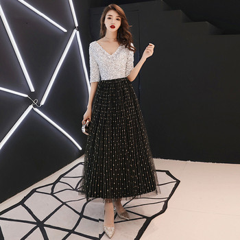2019 Black White Sequined Long Evening Dresses Half Sleeves Elegant Women Formal Gowns Mother of the Bride Dresses LF166