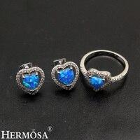 Lovely Heart Blue Fire Australian Opal 925 Sterling Silver Stud Earrings Ring Sets 6/7/8 Pretty Women Party Jewelry Cute Gift