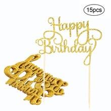 15 шт. Блестящий бумажный Топпер для торта «С Днем Рождения» кекс десерт украшения принадлежности для празднования дня рождения