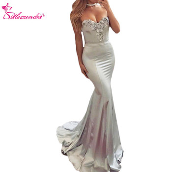 Alexzendra Silver Mermaid Prom Dresses Sweetheart Beads Long Formal Evening Dress Party Gowns Custom Made