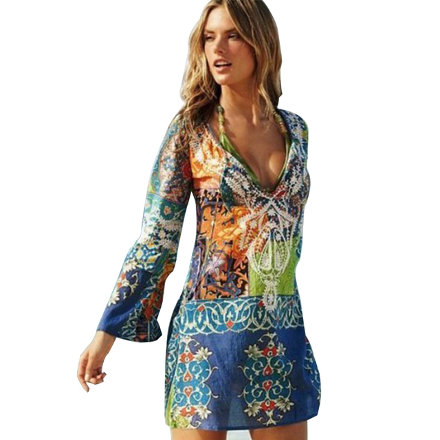 Aliexpress.com : Buy Vintage Printed Summer Beach Dress 2016 V ...