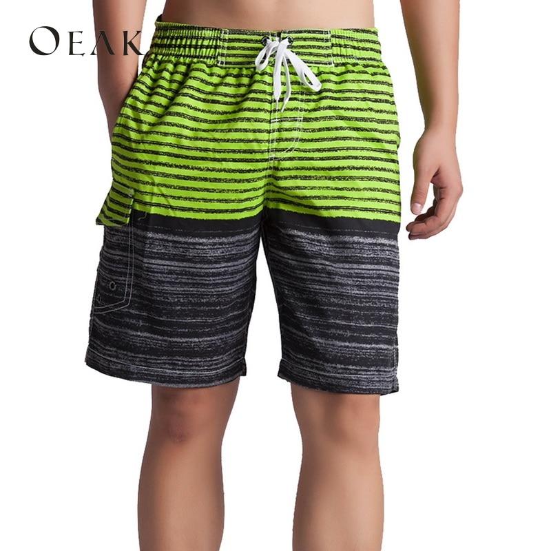 OEAK Striped Patchwork Men's   Board     Shorts   Fashionable Swimming Hawaiian Beach   Shorts   Casual Drawstring   Shorts   Masculino Praia