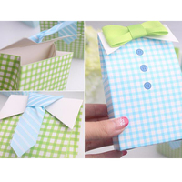 2016 20 Pcs My Little Man Blue Green Bow Tie Birthday Boy Baby Shower Favor Candy