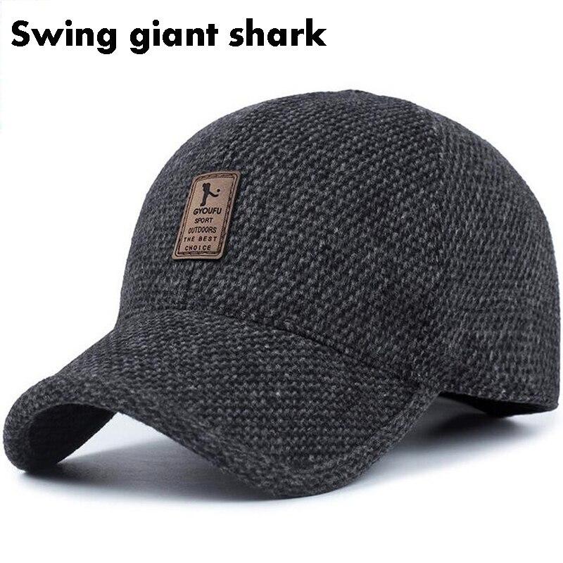 [Swing giant shark] high quality Men's Winter Baseball Cap Warm Thicken Warm Knit Hats with Earmuffs