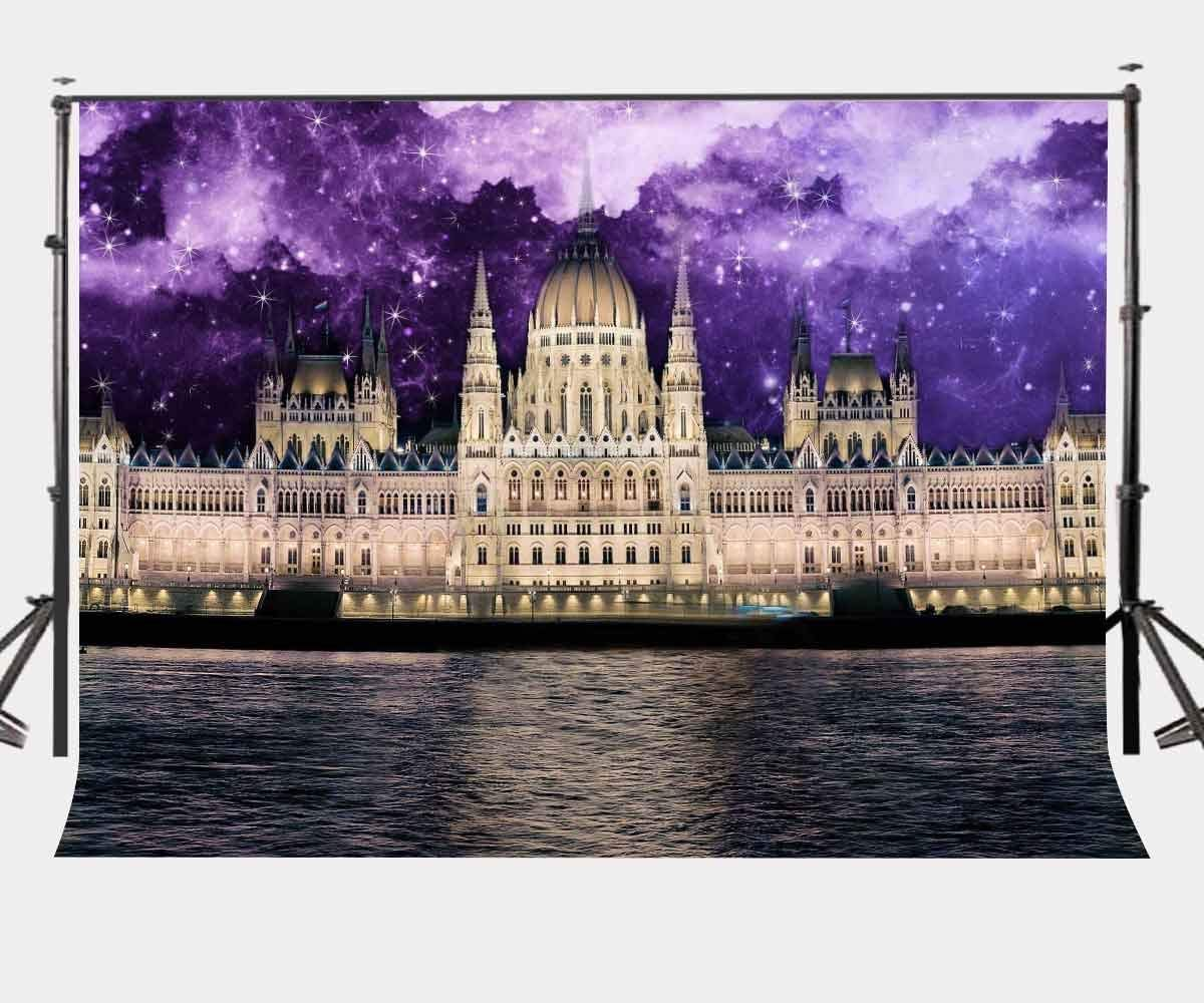 150x220cm European Style Castle Backdrop Ultra Violet Starry Sky Photography Background