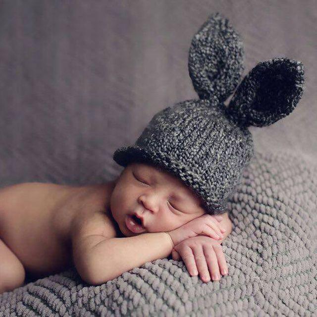 01dd258839d 0-6 Months Newborn Baby Rabbit Hats Photo Props Bunny Ear Crochet Knit Cap  Beanie Hat Infant Outfit Costume Accessory