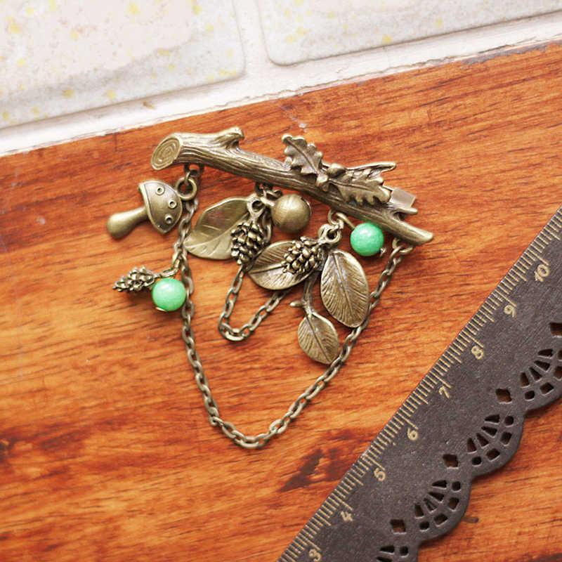 Jujie Vintage Pohon Asli Bros untuk Wanita 2019 Emas Antik Cantik Brincos Daun Bros Pin Tanaman Perhiasan Dropshipping