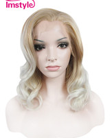Imstyle ash brown blonde Synthetic lace front wig for women wavy 16 inches short hair natural
