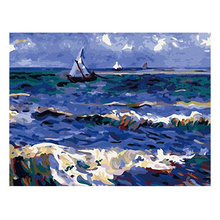 RIHE DIY Painting By Numbers Sailboat Sea Landscape Oil On Canvas Home Decor Acrylic Paint Wall Art For Living Room