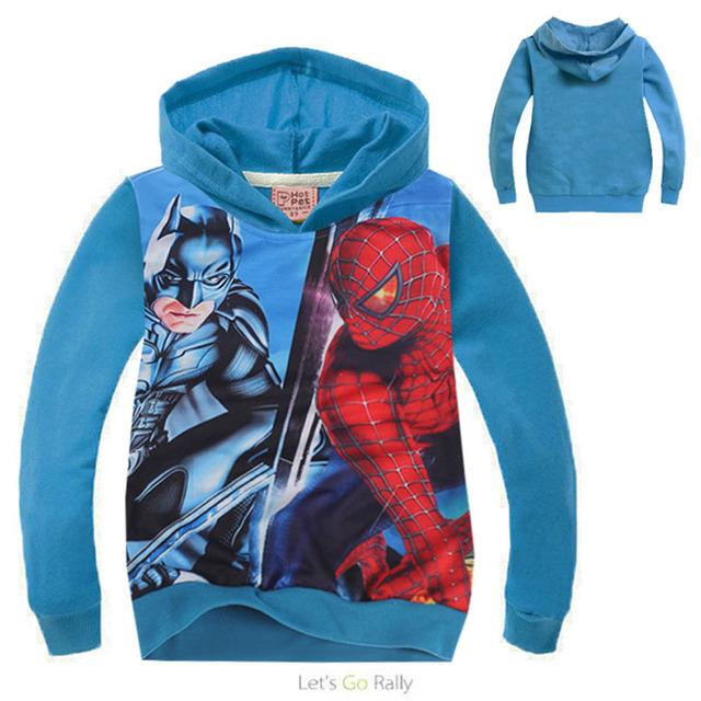 Novos Meninos Roupas Batman Vs Spiderman Hoodies das Camisolas crianças Terry Algodão Topwear Crianças Outerwear das Crianças camisola de manga comprida