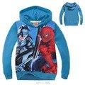 Nueva Ropa de Los Muchachos de Spiderman Batman Vs Sudaderas niños Terry Algodón Camisetas Y Tops Niños prendas de Vestir Exteriores de Los Niños del suéter de manga larga