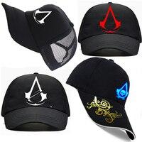 Summer Breathable Assassins Creed Embroidered Flat Hat Mesh Baseball Cap Snapback Men Women Fashion Assasins Wholesale