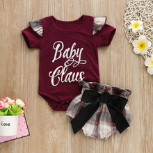 Cute Toddler Baby Girl Letter Bodysuit Shorts Clothes Set Babies Girls Summer Tops Plaids Shorts Outfits Set Clothes 0-24M 2019 цена 2017