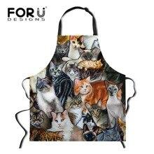 FORUDESIGNS Funny Animal Cat Dog Print Waist Apron for Women Sleeveless Men Kitchen Chef Cooking Aprons Bib
