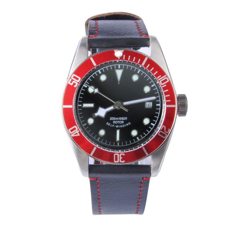 41 mm Corgeut sterial Black Dial Red Bezel Sapphire Glass Luminous wrist watch Japan Miyota Automatic mens water resistant Watch  41mm corgeut black dial red bezel 21 jewels miyota automatic diving mens watch