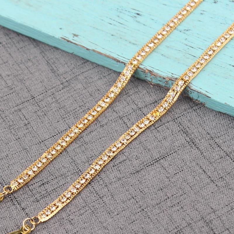 Mode baru double-bahu bra rantai tali bahu berlian imitasi tali pakaian sabuk tali bra / tali lingerie.