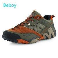 Beboy Lightweight Hiking Shoes Men Genuine Leather Waterproof Trekking Shoes Sneakers Resistant Climbing Hunting Sport Shoes