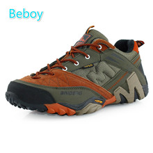 Beboy Lightweight Hiking Shoes Men Genuine Leather Waterproof Trekking Shoes Sneakers Resistant Climbing Hunting Sport Shoes