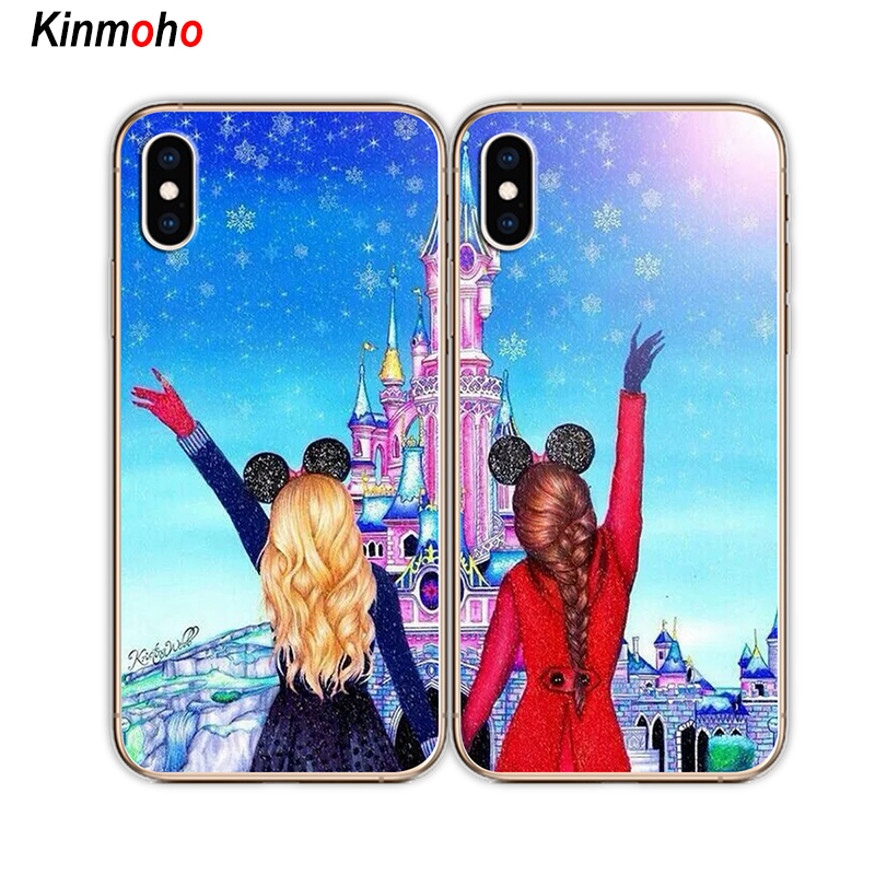 , Girls Bff Best Friends Forever Transparent Soft Phone Cases Cover For  iPhone 7 6 6S 8 Plus Coque X XR XS MAX 5S SE 5 Capinha