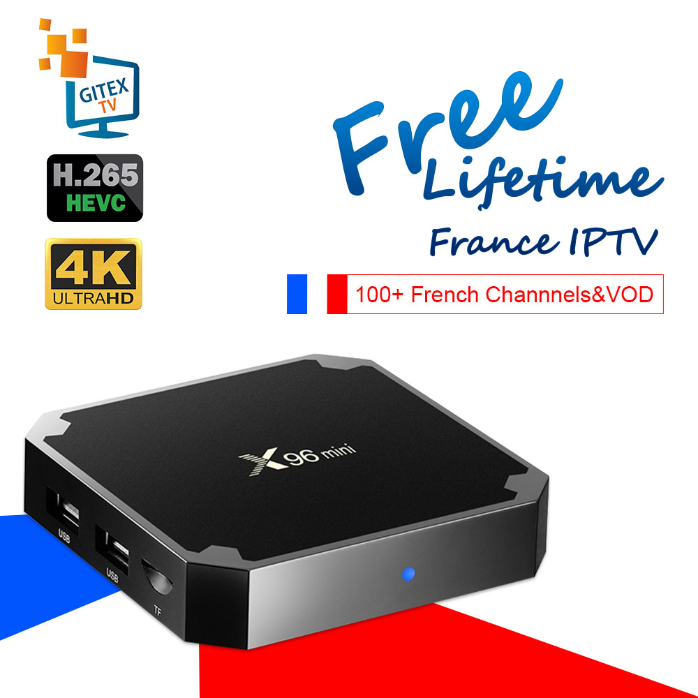 X96 Mini TV Box With Free Lifetime French IPTV 1400 Channels&VOD For France Belgium Android 7.1 4K Eternally Free Smart IPTV Box