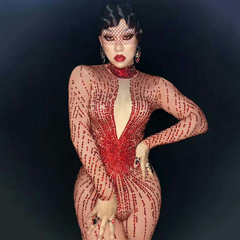 Shining Red Rhinestones Sexy Rompers Costume Bling Jumpsuit Women's Outfit Bodysuit Birthday Celebrate Wear Female Singer DJ314
