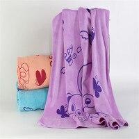 1 PC Por Atacado Do Bebê Toalha de Fibra de Bambu Urso Dos Desenhos Animados Impresso Colorido Suave Planície Tingida Toalhas de Banho Presentes de Natal TW106