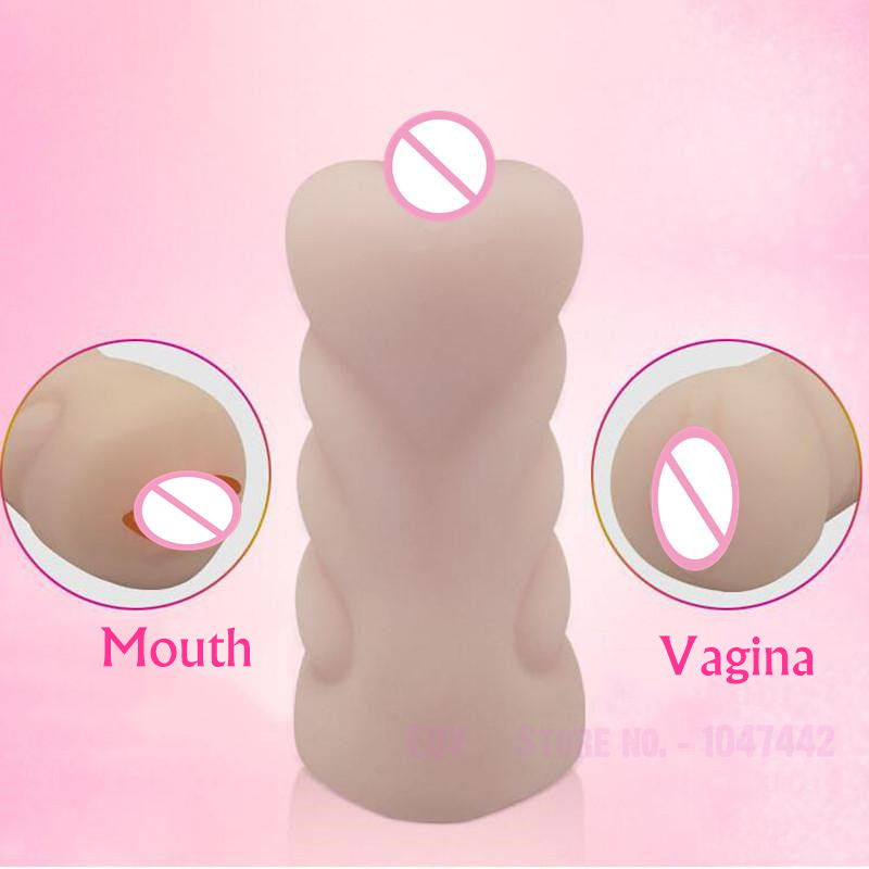 Double End Vagina Real <font><b>Pussy</b></font> Deep Throat Male Masturbator Oral Blowjob Teeth Tongue Masturbation Cup <font><b>Fake</b></font> <font><b>Pussy</b></font> <font><b>Sex</b></font> Toys for Men image