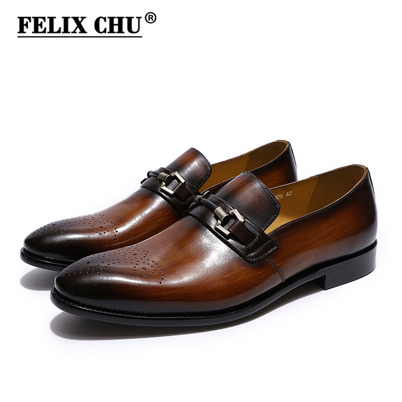 FELIX CHU Mens Slip On Buckle Loafer Brogue Oxford Shoes Comfortable Classic Formal Business Shoes Leather Dress Shoes for Men 3 colors calfskin leather casual buckle comfort slip on loafer men boat shoes bussiness shoes
