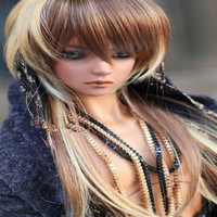 High Temperature Wire Bjd Wig Gold Brown Mixed 1 3 1 4 1 6