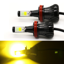 цена на 2 Color Car Front Fog Light Bulbs LED H1 H7 H8 H11 9005 9006 H3 880 881 2400LM 24W 12V Automotive COB LED Fog Lamp