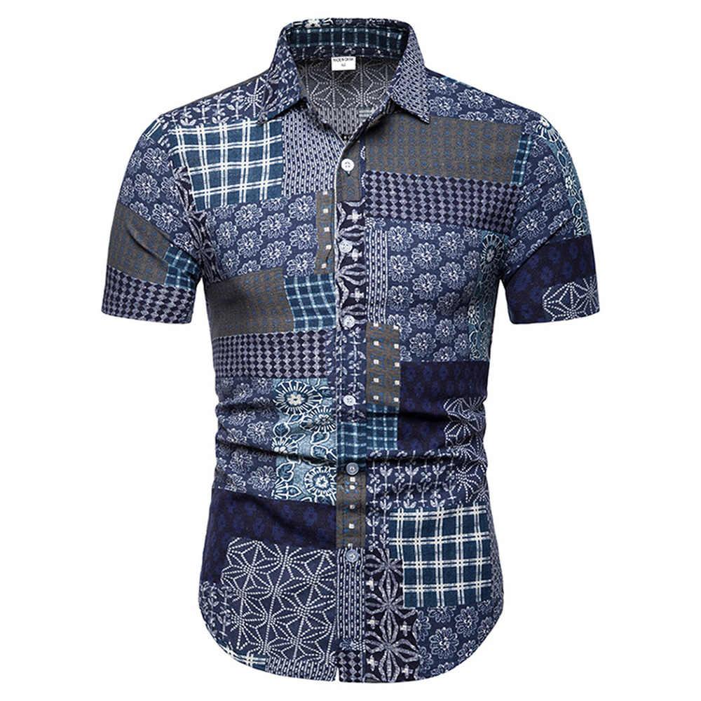 新メンズアロハシャツ男性カジュアルプリントビーチシャツ半袖夏男性国家のスタイルの服 2019 アジアサイズ 5XL