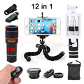 12in1 Phone lenses Kit 12X Telephoto Zoom Lentes Fisheye Wide Angle Macro Lens For iPhone 7 Smartphone With Mobile Tripod Clips