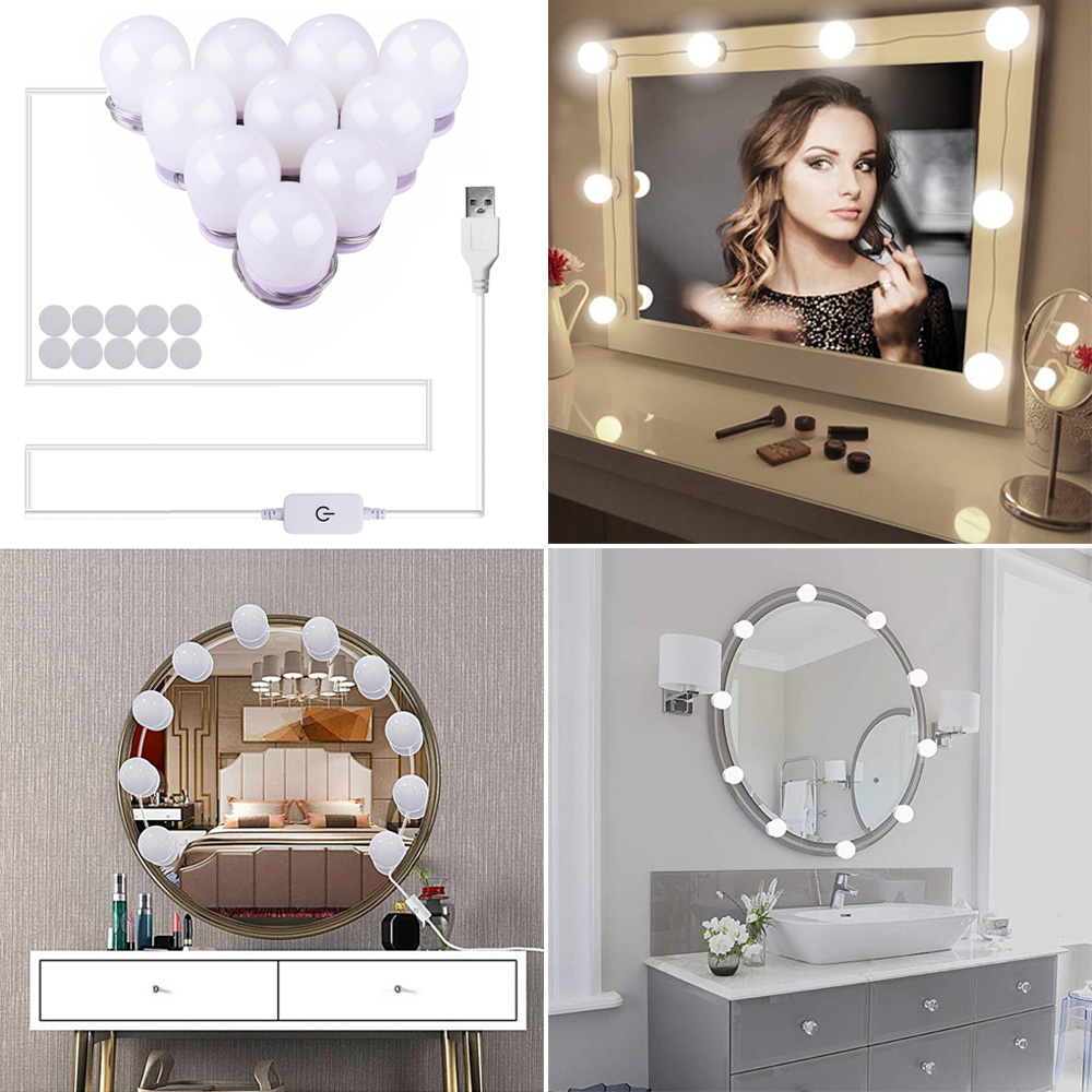 Hollywood Mirror Lights LED  adjustable Bulbs kit Vanity Makeup for wall dresser bathroom with Touch Dimmer and 5V USB plug in 2