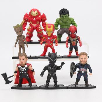 5pcs lot marvel movie masks avengers hulk captain america batman spiderman ironman party mask boy gift action figures toys e 8pcs/set Marvel Toys 8-10cm Avengers Endgame Ironman Thanos Spiderman Hulk buster Black Panther Groot PVC Action Figures Model