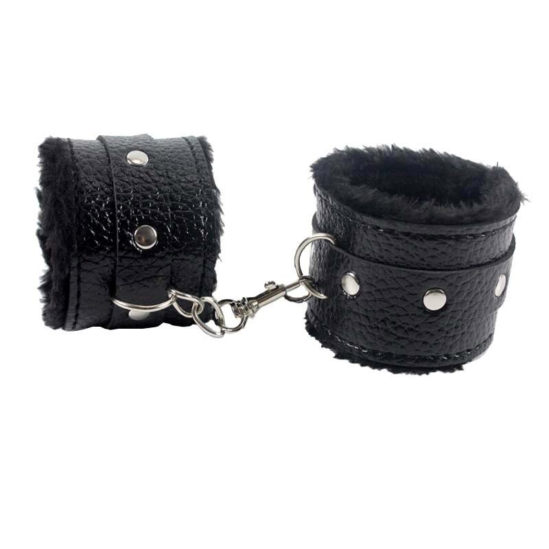 Black Soft PU Leather Handcuffs Restraints Sex Bondage Sex Products Couples Ankle Cuffs Bondage Slave sexo bdsm Sex Toys..