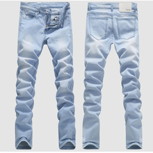Top 2017 New Fashion Men's Casual men's washed Denim jeans  Men's Clothing long Tight Pants Solid Colors male blue trousers 36